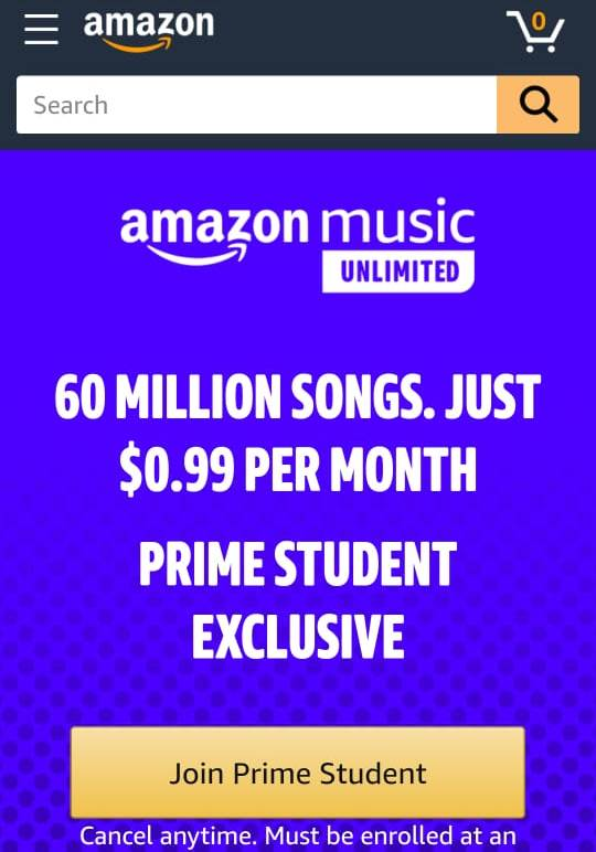 Prime Student Exclusive offer for Amazon Music Unlimited