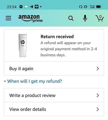 Refund for a returned Amazon order