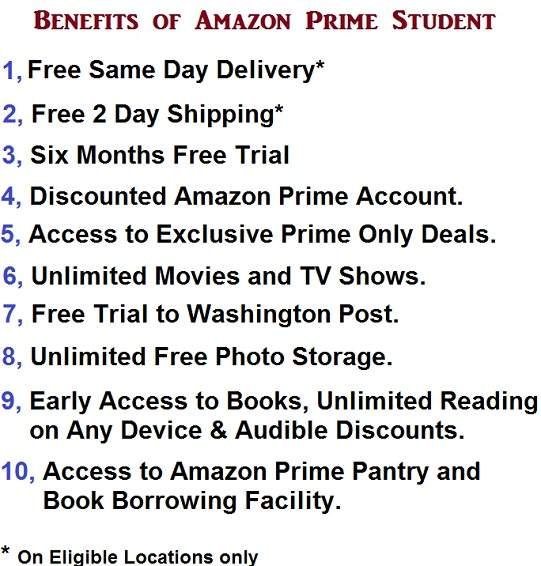 Advantages of Amazon Prime Student