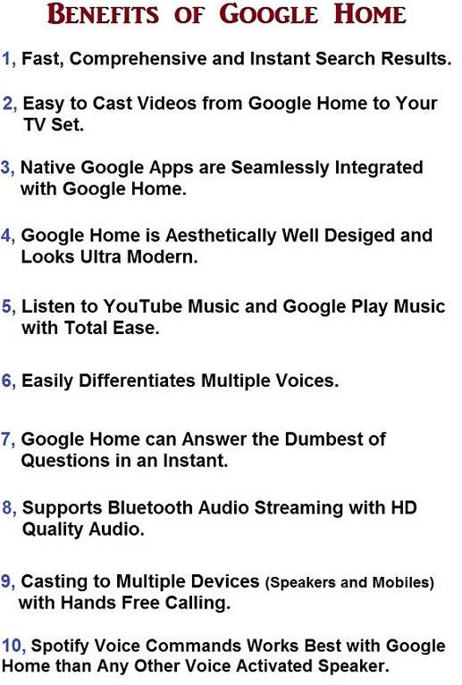 Advantages of Google Home