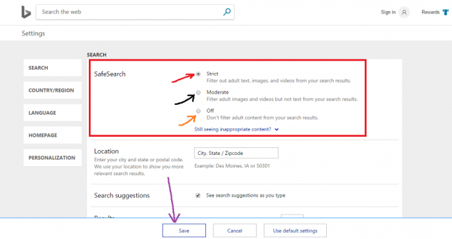 how to enable safe search settings on bing?