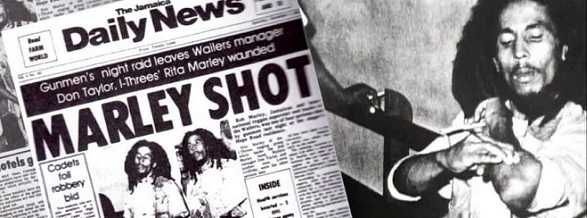 Bob Marley, his wife and crew were shot by unidentified assailants.