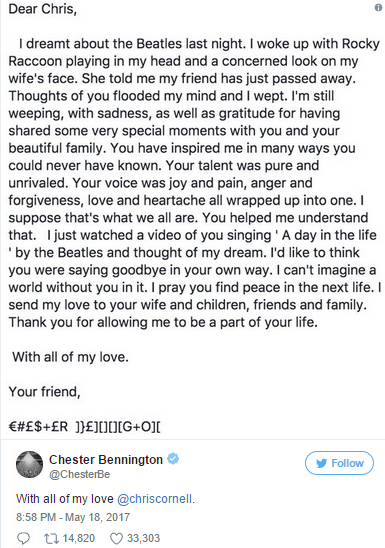 Chester Bennington's tribute to Chris Cornell
