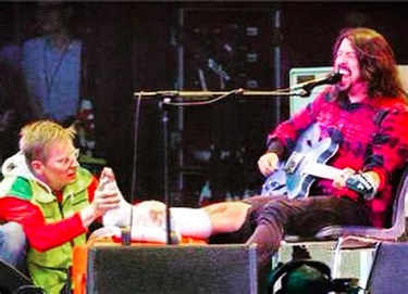 Dave Grohl fractured his leg but still finished the show with the help of Swedish paramedics.