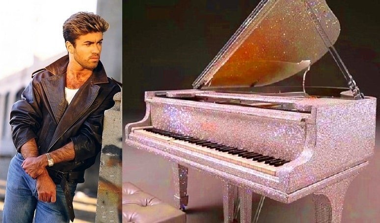 George Michael buys a diamond studded piano for 2 million dollars and donates it to The Beatles charity