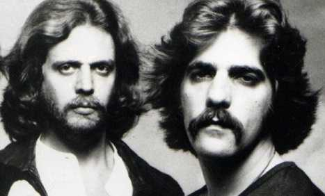 Glenn Frey and Don Felder of The Eagles broke guitar and things at a Californian concert.