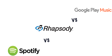 difference between Google Play Music, Rhapsody and Spotify