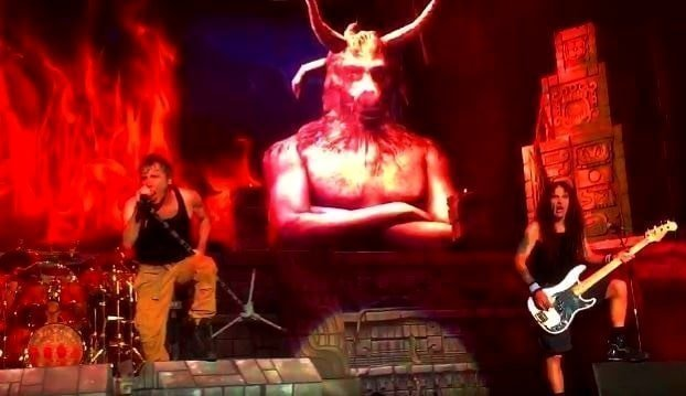 Most Iron Maiden stage sets have scary Eddie mascots or creatures with horns