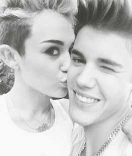 Justin Bieber with Miley Cyrus