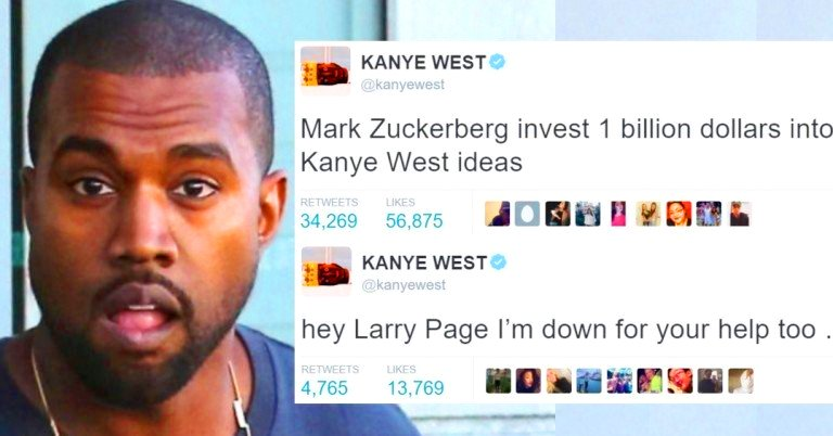 Kanye West begs Mark Zuckerberg and Larry Page for money