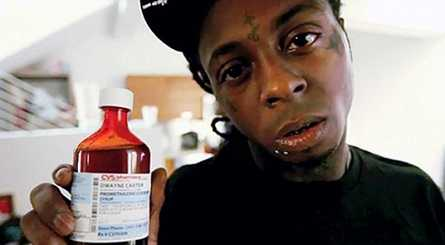 Lil Wayne gets high from a cocktail of drugs.