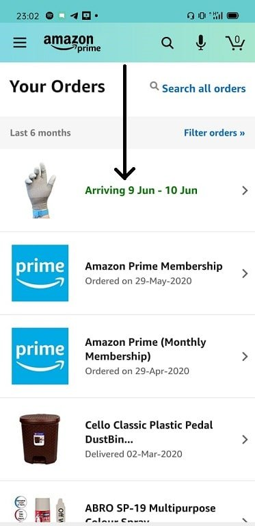 List of orders as displayed by the Amazon app