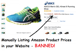 Listing Amazon Product Prices on your website is banned