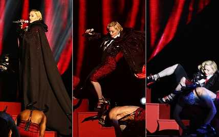 Madonna's BRIT award fall was highly embarrassing as well as dangerous.