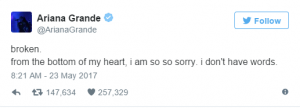 Ariana Grande tweets on Manchester Explosion
