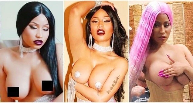Horny Nicki Minaj topless