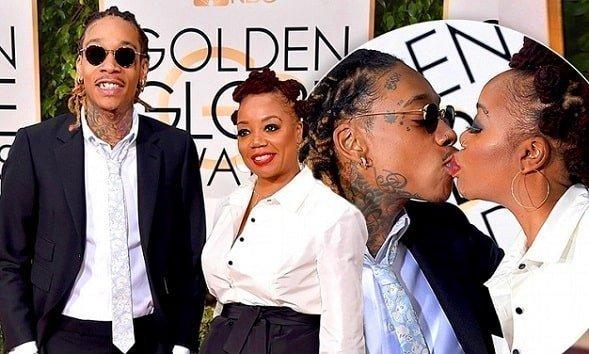 Wiz Khalifa lip kisses his mom during Golden Globe awards red carpet ceremony