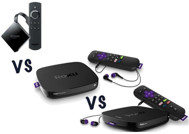 difference between amazon fire tv 4k, Roku Express, Roku express plus