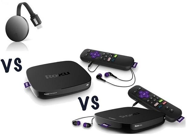 Difference between chromecast 4k , Roku Express , Roku express plus