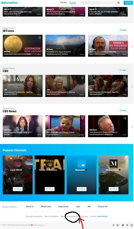 dailymotion Age Restriction OFF, family filter OFF