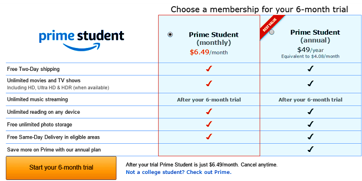 How to join Amazon Prime student?