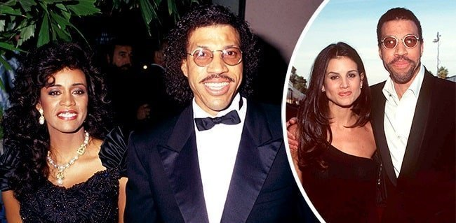 Lionel Richie with his ex wives