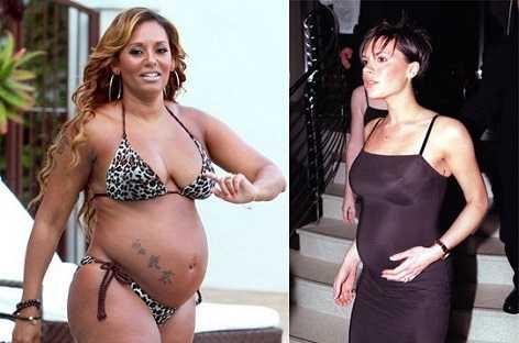 Mel B and Victoria Beckham pregnant pics