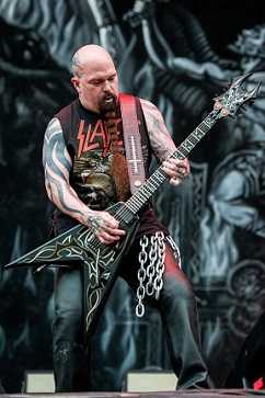 Kerry King's whole body is covered with satanic tattoos