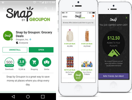 earn cashback shopping through snap app by groupon